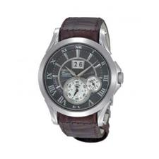 Grey Dial Leather Watch For Men -SNP025P1