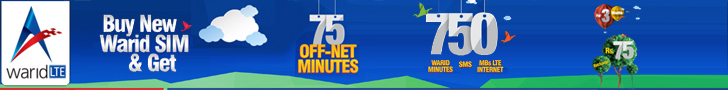 Buy New Warid SIM & Get 75 Off Net Minutes