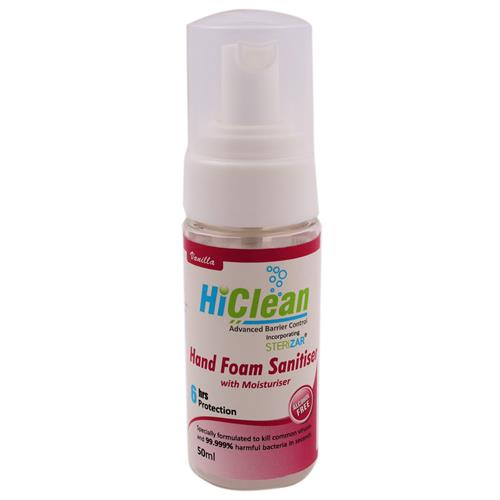 Vanilla HiClean Hand Foam Sanitiser 50 ml Pump Bottle - 7080020
