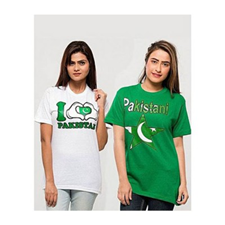 Pack of 2 I love Pakistan printed t-shirt for women