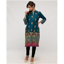 Cotton Embroidered Kurti - Navy Blue