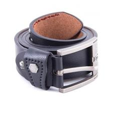 Black Leather Belt With Chrome Buckle - FT-B-213