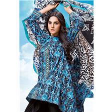 74e0b61e97 Blue 3 Pc Black White Digital Printed Dress Cl-276 A. Gul Ahmed