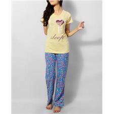 Yellow Single Jersey Cotton Love Yellow With Flower T-Shirt Pj Sp0048