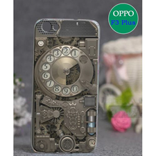 Oppo F3 Plus Telephone Style Mobile Back Cover Brown